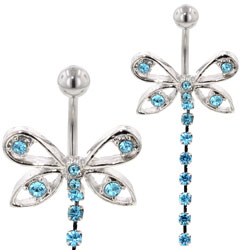 Jewelled Butterfly Belly Ring