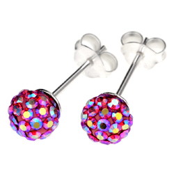 Pink Crystal Ear Studs