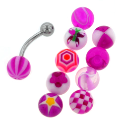 Purple Belly Ring Set