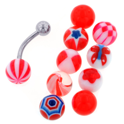 Red Belly Ring Set
