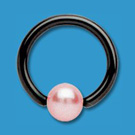 Pink Pearl 16ga Belly Ring