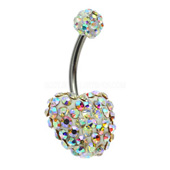 3D Heart Crystal Belly Bar