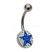 Blue Star Crystal Belly Bar