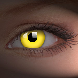 Yellow UV Glow In The Dark Contact Lenses
