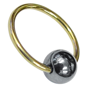 Zircon Gold Ball Closure Ring Silver Ball