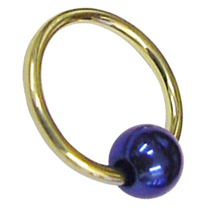 Zircon Gold Ball Closure Ring with Blue Ball