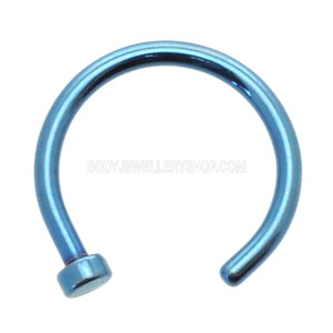 Blue Titanium Open Nose Ring