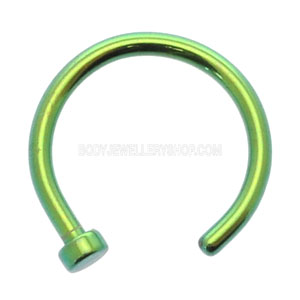 Green Titanium Open Nose Ring