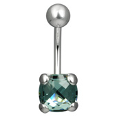 Square Swarovski Blue Belly Piercing Bar
