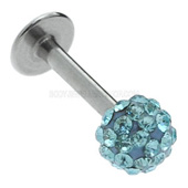 Turquoise Steel Jewelled Labret Stud