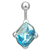 Swarovski Blue Belly Piercing Bar