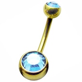 Jewelled Zircon Gold Belly Bar