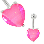 Pink Heart Belly Button Ring