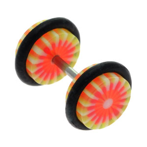 Red Yellow Flower Fake Ear Plug