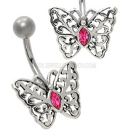 Pink Butterfly Silver Navel Jewellery