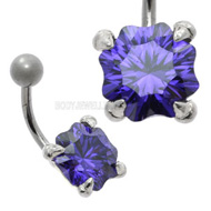 Violet CZ Silver Navel Jewellery