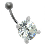 Round CZ Crystal Belly Bar