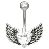 Winged Heart Crystal Belly Bar