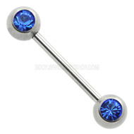 Blue Jewelled Nipple Bar