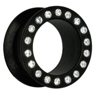 Black Jewelled Silicon Flesh Tunnel