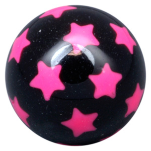 Black Threaded Ball With Pink Stars