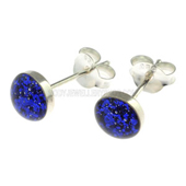 Blue Gliter Stud Earrings