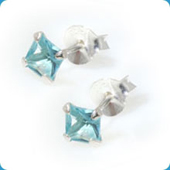 Blue Square Jewelled Stud Earrings