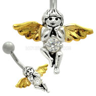 Jewelled Angel Silver Belly Bar