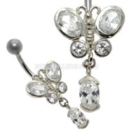 Jewelled Butterfly Belly Bar