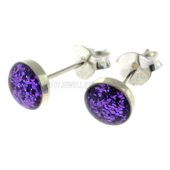 Purple Gliter Stud Earrings
