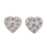 Silver Heart Crystal Stud Earrings