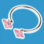 CZ & Silver Pink Sqaures Toe Ring