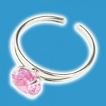 CZ & Silver Pink Round Toe Ring