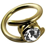 Zircon Gold Crystal Clear Gripper Ring