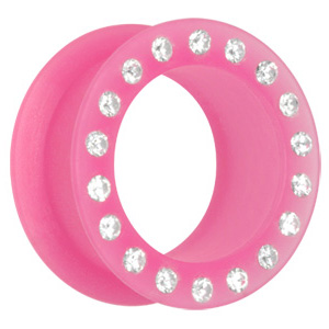 Pink Jewelled Silicone Flesh Tunnel