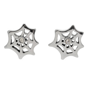 Stainless Steel CZ Spider Web Earrings