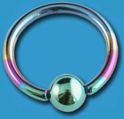 Titanium Rainbow Ball Closure Ring