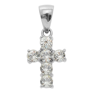 Clear Cross CZ Pendant
