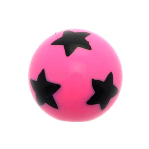 Pink Stars Acrylic Threaded Ball