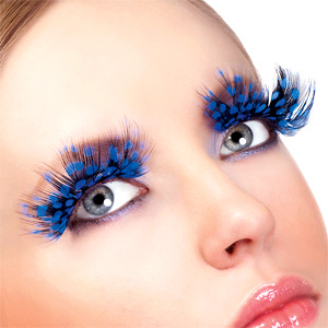 Large Blue Spotted Feather Eyelashes