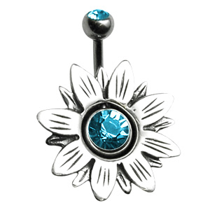 Silver Flower Navel Orbital