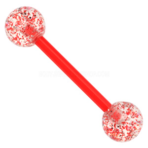 Red Flexible Glitter UV Barbell
