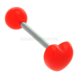 Red Plastic Heart Tongue Barbell