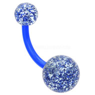 Blue Glitter Belly Button Bar