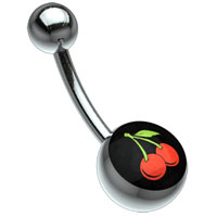 Cherry Titanium Belly Bar