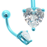Jewelled Heart Blue Titanium Belly Bar
