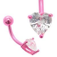Jewelled Heart Pink Titanium Belly Bar