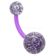 Purple Glitter Belly Button Bar