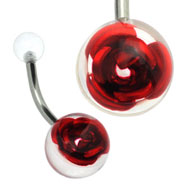 Red Rose Belly Button Bar