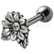 Clear Flower Tragus Piercing Stud